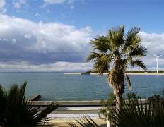 窓からの海が見える景色の写真